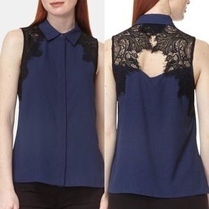 NWT Vera Button Down Lace Detail Blouse